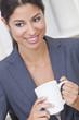 Happy Businesswoman Woman Drinking Tea or Coffee