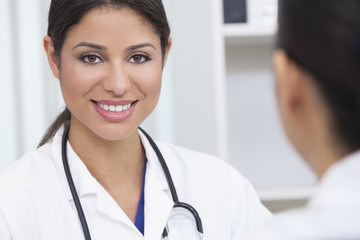 Hispanic Female Woman Hospital Doctor in Meeting
