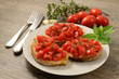 Bruschetta with tomato and fresh oregano