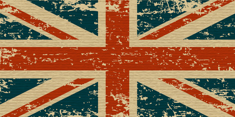 UK grunge flag on old carboard texture. Vector eps10