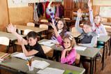 Schoolchildren raising hands poster