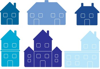 set of vector house icons in blue isolated on white background