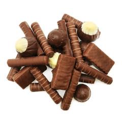 Chocolates isolated on white background