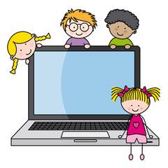 niños con un ordenador portatil