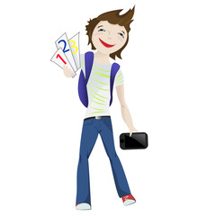 Boy standing smiling with tablet and numbers