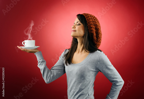 hot coffee woman