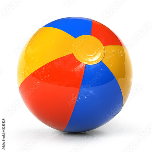 Colorful beach ball with water drops - 43285829