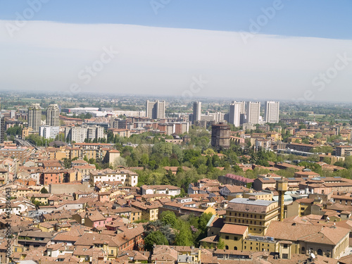 Bologna, city located in Italy. Historic distric view.