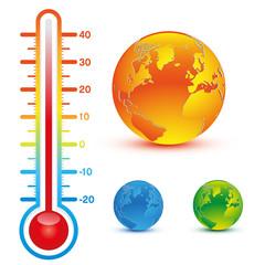 planète et thermomètre
