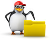 3d Penguin in baseball cap points at folder