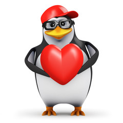 3d Penguin in baseball cap holds a red heart