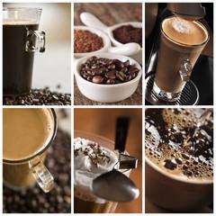 Kawa filiżanka,ziarna - kolaż fototapeta