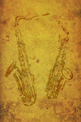Vintage stamps of two saxophones on old paper.