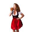 attraktive brünette Frau mit Dirndl mit Bierkrug
