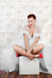 Portrait of beautiful bride in red shoes