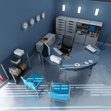 Widok z lotu ptaka niebieskim nowoczesnym biurze