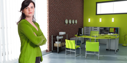 Woman and office in green