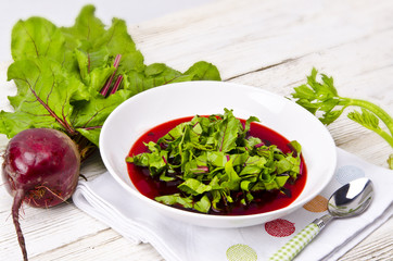 Vegetable soup from young, fresh sheets of the beetroot