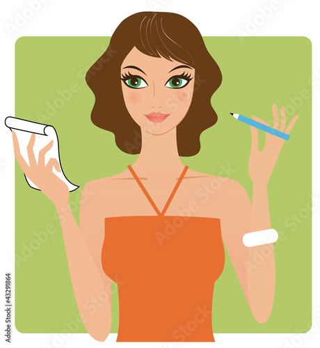 Young attractive woman holding a pen and paper