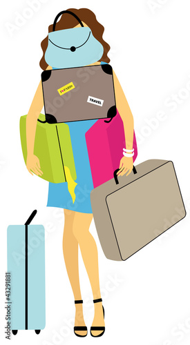 Young woman with a load of baggage