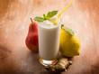 Leinwandbild Motiv milkshake with pears ginger and lemon