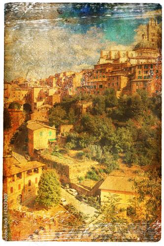views of Siena in vintage style, like postcards