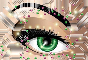 Circuito Occhio Elettronico Donna-Circuit Board Electronic Eye