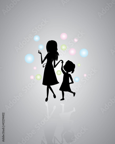 Mother and daughter silhouettes background