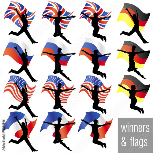 Athletes With Flags Set