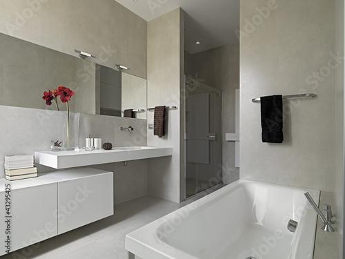 Bagno moderno con vasca e box doccia in muratura - Bagno muratura moderno ...