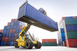 canvas print picture - Reach-Stacker mit Container