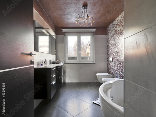 Wall mural bagno moderno con vasca e mobile per il lavabo   bathe ...