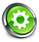 Control icon 3D green button