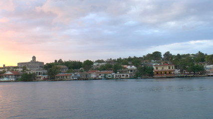 View of Cienfuegos city from boat before sunset, Cuba