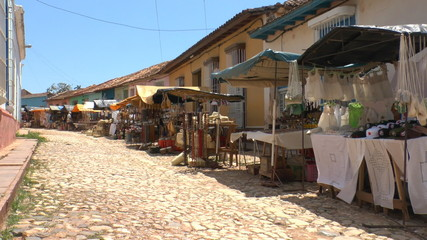 Typical colonial street of Trinidad, Cuba