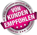 """Button Banner """"Von Kunden empfohlen"""" pink/silber"""