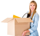 Woman moving house