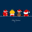 Santa, Christmas Ball, Reindeer & Snowman Dark Blue