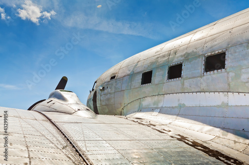 Remains of an abandoned Dakota DC3 aircraft from World War II on