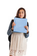 Preteen school girl with folder