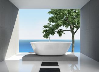 Grey white, modern elegant luxury bathroom interior, sea view