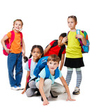 Children group with backpacks