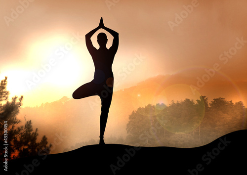 Stock Illustration of Yoga on Mountain
