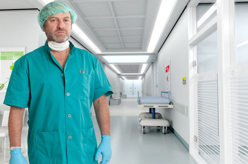 Serious surgeon at the hospital
