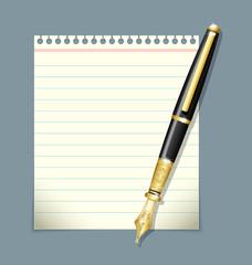 Ink pen and paper sheet illustration