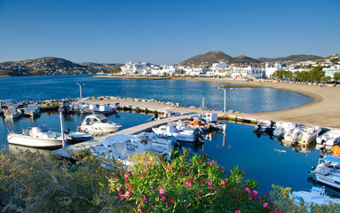 Port in Parikia on Paros island in Cyclades, Greece