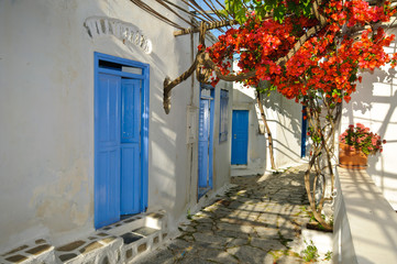 Greek traditional street in small town