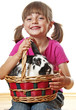 little girl and rabbit in a basket