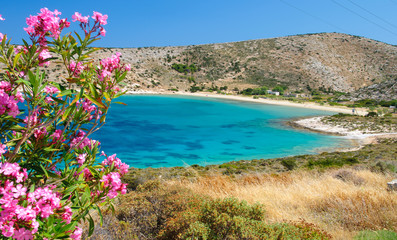 Sandy beach on Iraklia island, Cyclades, Greece