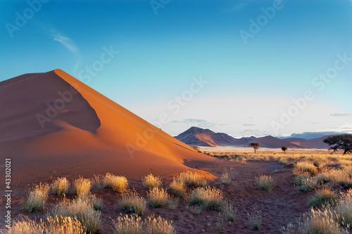 In de dag Zuid Afrika Beautiful sunset dunes Namib desert, Sossusvlei, Namibia